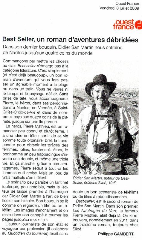 Best Seller, roman d'aventures débridées (Ouest France)