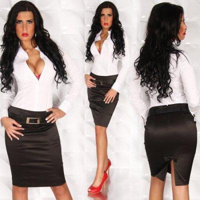 6ab2a4361a75 Chemisier blanc et jupe noir - Fashion-Vetement