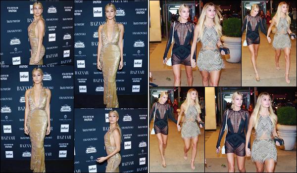 - '-08/09/17-'''✈''Hailey Baldwin était présente à la soirée du magazine le « Harper's Bazaar Icons » à New York. Tout comme son amie Kendall Jenner, et un bon grand nombre d'autres célébrités publiques, Hails Baldwin s'est rendue à la soirée avec Camila Morrone !-