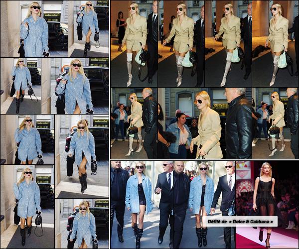 - '-24/09/17-'''✈''Hailey Baldwin arrivait à son hôtel « Park Hyatt Milano » après avoir défilé à la Fashion-Week. La veille au soir, elle a été photographiée en arrivant nouveau à son hôtel. Hails Baldwin a eu l'honneur de défiler pour la marque Dolce & Gabbana. Top.-