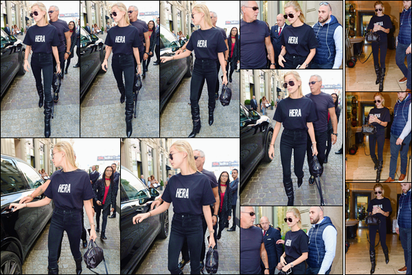 - '-22/09/17-'''✈''Hailey Baldwin quittait les lieux d'un défilé dans le cadre de la Fashion-Week de 2018 à Milan. La belle portait un look total black lors de cette sortie, où elle fut escortée jusqu'à la voiture qui devait sans aucun doute la mener à son hôtel ... Un top.-