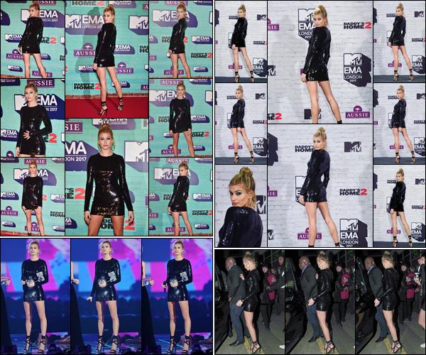'- '- 12/11/17 -'''◊''Hailey Baldwin prenait la pose lors des « MTV Europe Music Awards » dans la Wembley Arena. Désormais en Angleterre, plus précisément à Londres pour l'événement, Hailey a d'ailleurs présenté une catégorie de prix lors de la cérémonie. Un top !-