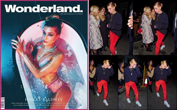 '- '- 04/12/17 -'''◊''Hailey Baldwin quittait le « Ruin Nightclub » en compagnie de miss Jordyn Woods, à Londres. After-party ou pas, Hails a terminé sa nuit à faire la fête dans une boîte de nuit. De plus, HB fait la couverture du magazine Wonderland pour décembre.-