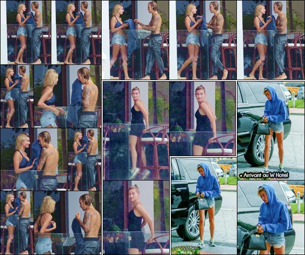 - ''•-11/06/18-' : Hailey Baldwin se rendait à l'hôtel « W Hotel » pour manger avec Justin Bieber, encore à Miami. Par la suite, la blonde a été photographiée avec le chanteur sur la balcon de leur hôtel, profitant de la piscine de cette dernière et du temps de la Floride. -