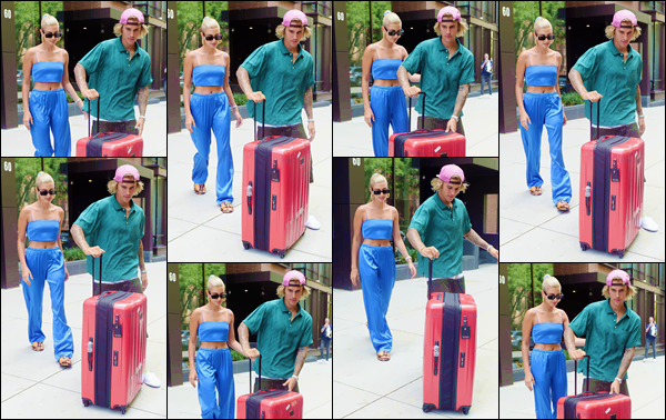 - ''•-13/07/18-' : Hailey Baldwin a été photographiée en quittant son appartement avec son fiancé à Manhattan. Avec son copain, Justin Bieber, la jeune mannequin a posté une photo sur son compte Instagram, annonçant que le couple prenait un jet privé. Un bof ! -