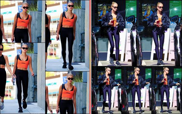 - ''•-21/07/18-' : Hailey Baldwin quittait les lieux du « Earth Bar » après un cours de sport dans West Hollywood. Accompagnée d'une de ses amies, Hailey Baldwin a été photographiée alors qu'elle quittait un gym de Los Angeles. Pour ensuite alors au café ! Petit bof. -