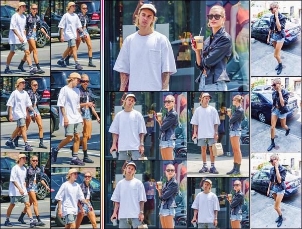 - ''•-28/07/18-' : Hailey Baldwin se rendait au commerce « Toby's Estate Coffee » avec Justin Bieber à New York. Hailey Baldwin, qui ne lâche plus d'une semelle son fiancé depuis des semaines, a à nouveau été aperçue en se baladant dans les rues de Brooklyn. Top ! -