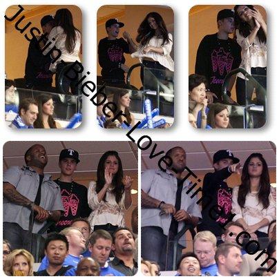 Justin flirte avec Selena Gomez lors d'un match de NBA