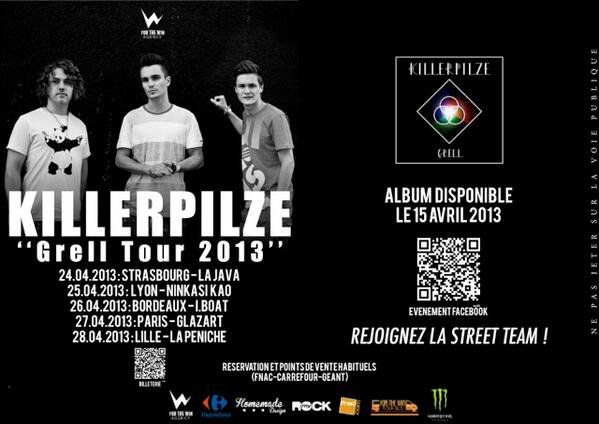 Killerpilze de retour en France en Avril 2013 !