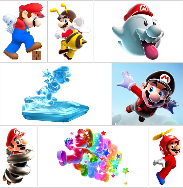 Transformations de Mario, Jeux après Jeux en Artwork HD [38 Transformations + 5 Spéciaux]