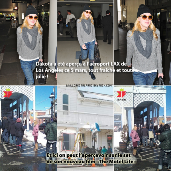 """DakotaLaand -ta source française sur la jeune actrice américaine Dakota Fanning !                                                                                                              NEWS Candids à LAX. EXCLU Dakota sur le set """"The Motel Life"""""""