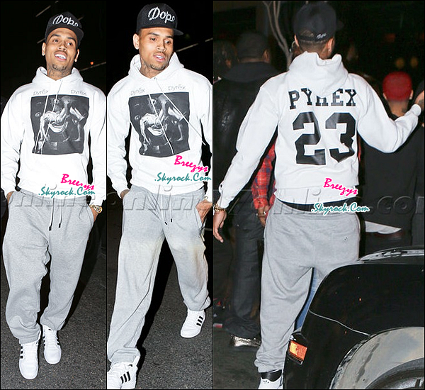 ".  Chris B. apperçu en quittant les restaurant ""BOA"" pour l'anniversaire de Sean Kingston a Los Angeles. ."