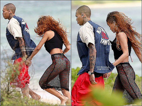 . 20.02.2013 : Chris Brown aperçu sur La plage Hawaïenneou ils fêtent l'anniversaire de Rihanna. .