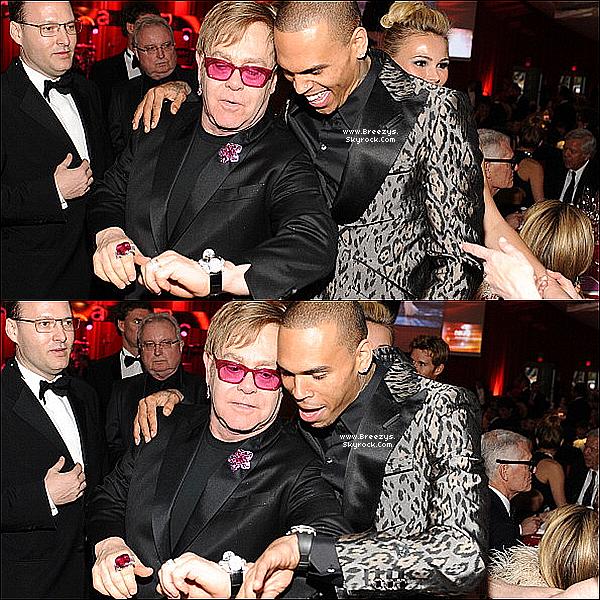 . 24.02.2013 : Chris Brown été a la « 21e edition Elton John » , AIDS foundation academy Awards .. .