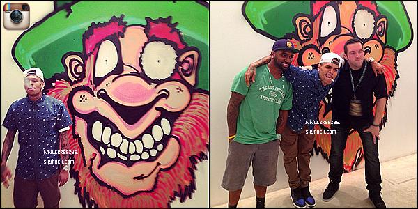 . 18.03.2013 : Le beaux Chris Brown a réaliser un graffiti a la galerie d'art mobba Los Angeles. .
