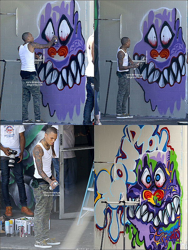 ". 09.08.2013 : Chris aperçu en train peindre a ""Sin City Tattoo Shop"" a Los Angeles. ."