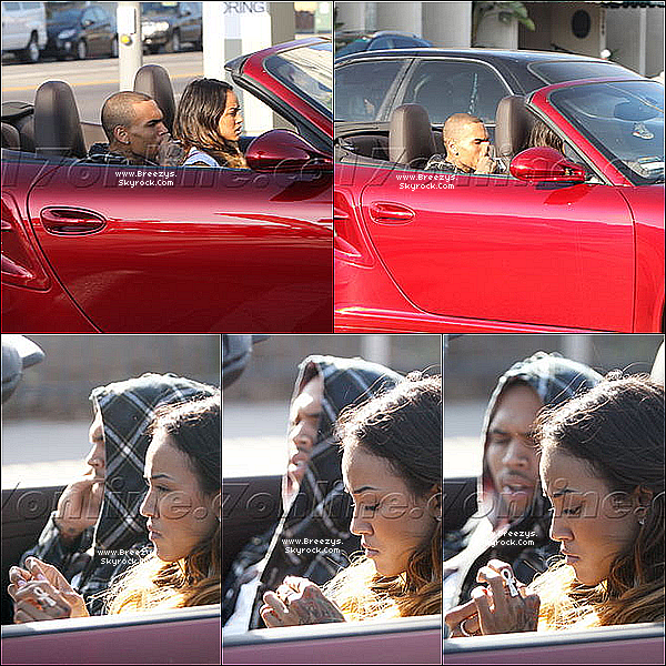 . 13.08.2013 : Chris aperçu en train circuler en voiture avec Karrueche dans Los Angeles. .
