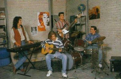 José, Etienne, Nicolas & Christian en répétition dans Hélène et les garçons