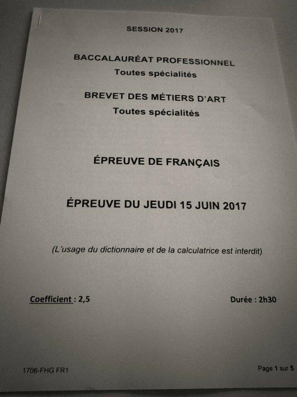 Bac français de 9h30 à midi et bac histoire de 14h à 16h