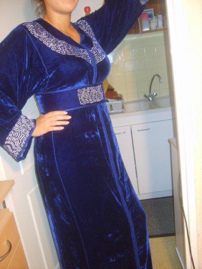 Caftan velours bleu nuit
