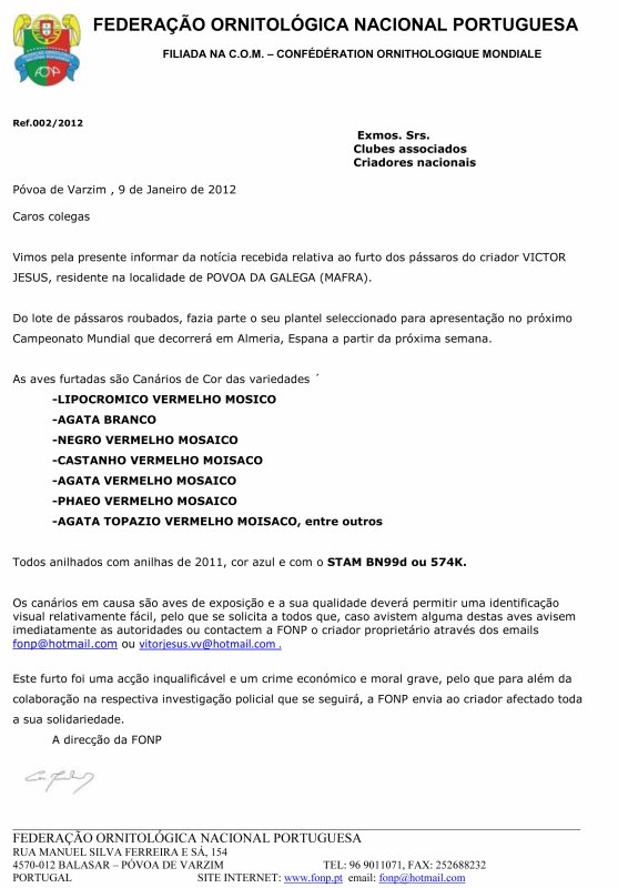 ATENCIÓN ROBO DE AVES - ATTENTION VOL DES OISEAUX