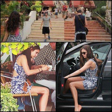 Nina et Ian ont été aperçus en Thaïlande en train de se promener. On a également photographié la star sortant de sa voiture et mangeant sur la terrasse d'un restaurant.