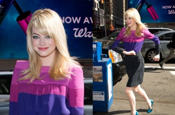 """Le 24 avril, Emma été présente au lancement du nouveau mascara de Revlon """"Revlon le mascara last potion"""" qui se déroulait au supermarché Walgreens. La jeune actrice était absolument magnifique ! Sa tenue est juste parfaite, même si je ne suis pas fan de ses chaussures."""
