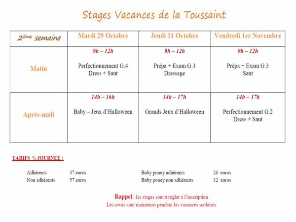 STAGES TOUSSAINT 2019