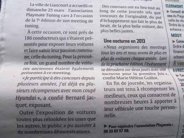 Meeting de Liancourt . NEELA dans le journal 'Courrier Picard'