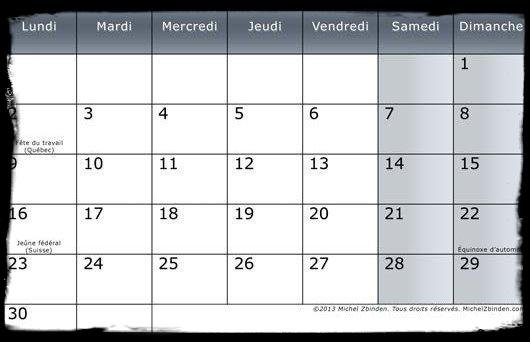 Calendrier Septembre 2013 / Dates Meetings