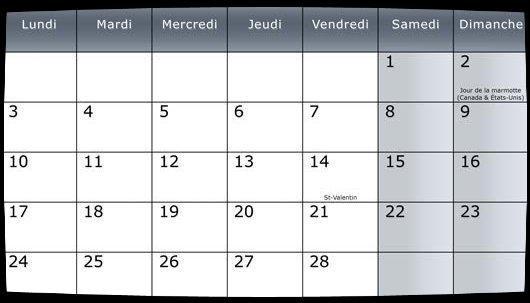 Calendrier Fevrier 2014 / Date Meetings (Remerciements)