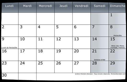 Calendrier Juin 2014 / Date Meetings