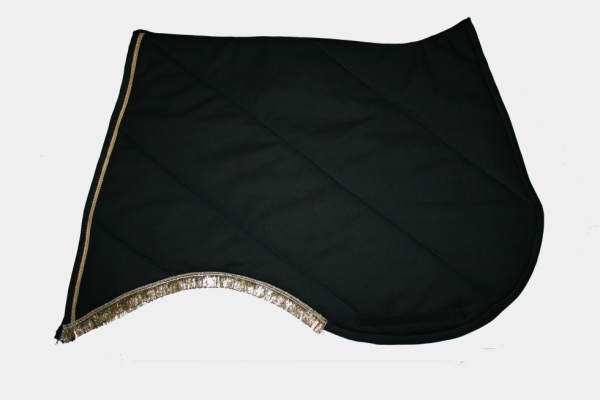 Tapis a pointe Noir frange Or