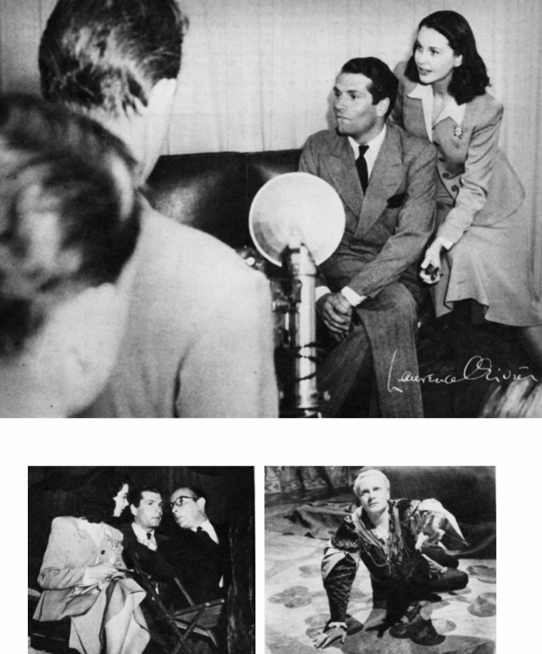 """Sir Laurence KERR OLIVIER, Baron OLIVIER, OM, est né le 22 mai 1907 à Dorking dans le Surrey et décédé le 11 juillet 1989 à Ashurst (West Sussex), est un comédien, metteur en scène, directeur de théâtre, réalisateur et scénariste britannique. / TRILOGIE SHAKESPEARIENNE / C'est Winston CHURCHILL qui demande qu'OLIVIER soit relâché de la Fleet Air Arm afin de tourner """"Henry V"""" dans le but de remonter le moral d'un peuple en pleine guerre. OLIVIER ne pense pas au départ en avoir les compétences nécessaires mais, face au refus de différents réalisateurs, il se décide lui-même à le faire en Irlande. Après un tournage mouvementé (il est derrière la caméra quand un cheval fonce dedans lors d'une reconstitution de la bataille d'Azincourt, le blessant au visage), le film sort et connaît un grand succès. Nommé aux Oscars dans les catégories meilleur film et meilleur acteur, OLIVIER reçoit finalement un Oscar d'honneur (d'après lui, l'académie ne voulait pas donner ses deux plus grosses récompenses à un étranger). Il tourne ensuite """"Hamlet"""". C'est un rôle qu'il a déjà interprété au théâtre, néanmoins, il se montre moins à l'aise dans son interprétation. Obligé de réduire la durée du film à 2 heures et demie, OLIVIER doit supprimer des répliques et même des personnages. Le film est néanmoins un succès et Laurence OLIVIER obtient l'Oscar du meilleur film et celui du meilleur acteur. Vient ensuite l'adaptation de """"Richard III"""". Lors du tournage, il est blessé par une flèche, mais heureusement ses principales scènes ont déjà été tournées. Apprécié par la critique, le film sera un échec commercial et financier dû en partie au fait qu'aux États-Unis le film est montré à la TV avant de sortir en salle. Au fil des années et des rediffusions le film obtient un succès d'estime. Le rôle de Richard III est aujourd'hui considéré par beaucoup comme une de ses meilleures performances. Durant cette période de réalisation, OLIVIER ne fera que peu d'apparitions dans d'autres films..."""