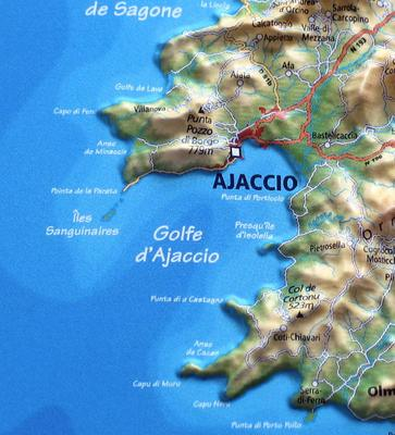 Carte Corse Ile Sanguinaire.Ajaccio Carte La Visite De La Corse