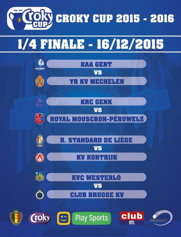 Croky Cup - 1/4 de finale - Calendrier