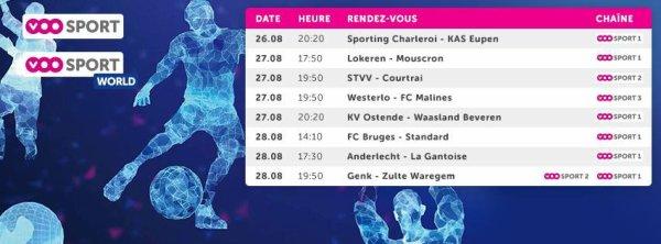 Jupiler pro League - 5° journée - Calendrier