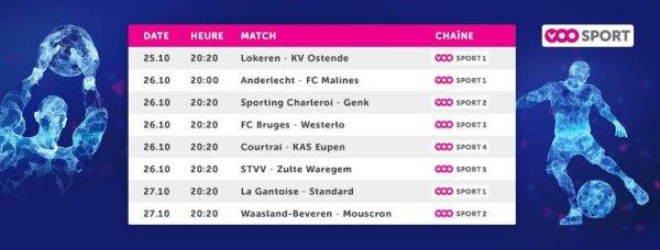 Jupiler pro League - 12° journée - Calendrier
