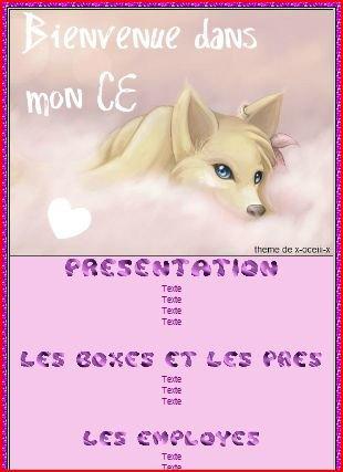 Thème CE chien manga rose violet
