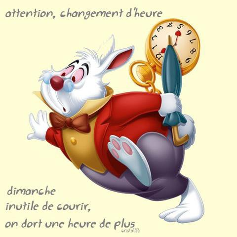 Attention !!!! Demain changement d'heure !!!!!