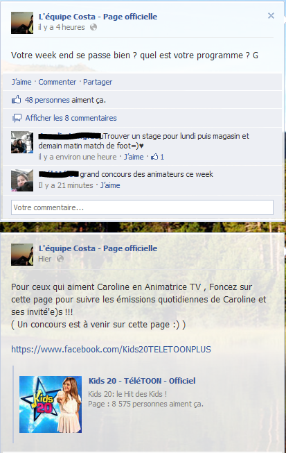Messages Facebook du jours - 15/09/2012