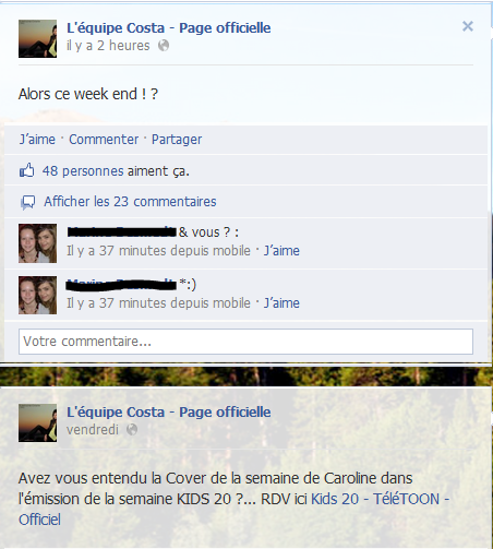 Messages Facebook du jours - 23/09/2012