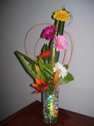Gerberas, lys en bouquet