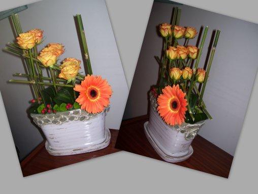 bambous,roses, gerbera
