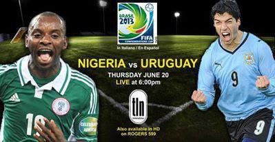 Coupe des Confédérations 2013 : Nigeria-Uruguay :1-2, la Celeste garde espoir