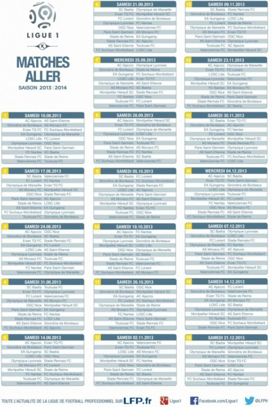 Calendrier Match Aller Retour Ligue 1 2013-2014