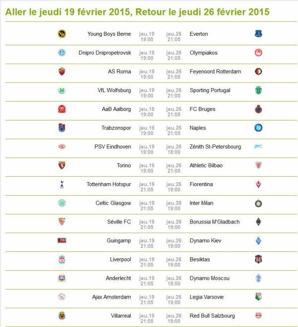 Calendrier / résultats Ligue Europa : 16èmes de finales Saison 2014/2015