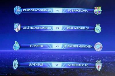 Ligue des champions: PSG-Barcelone et Juventus-Monaco en quarts de finale
