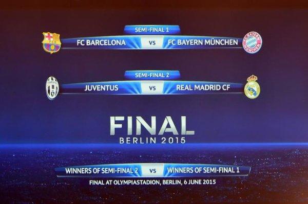 Tirage - Demi-finales : Le FC Barcelone retrouve le Bayern Munich, la Juventus défie le Real Madrid