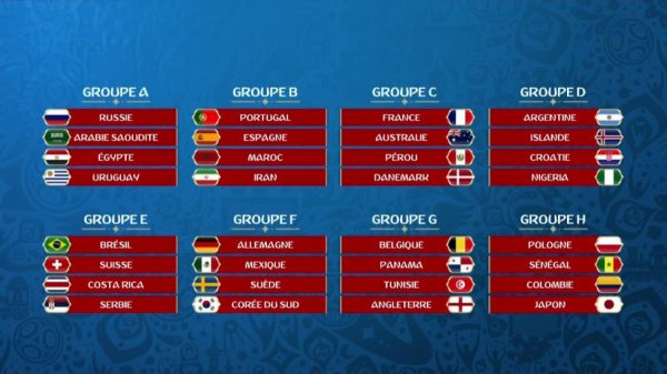 Le calendrier complet de la phase de groupes de la Coupe du monde 2018 en Russie